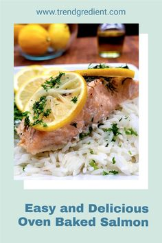 Make this healthy oven baked salmon recipe with lemon and dill in under 30 minutes. Perfect for a weeknight! #dinner #mediterraneandiet #healthymeals #keto #easymeals Baked Salmon Lemon, Oven Baked Salmon, Baked Salmon Recipes, Lemon Recipes, Fish Recipes, Seafood Recipes, Healthy Recipes, Fresh Seafood, Cooking Salmon