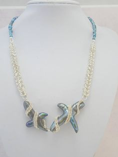 Chainmaille Necklace Freshwater Pearl Necklace Statement