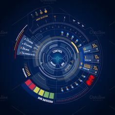 Futuristic HUD touch screen user interface elements. Can be used for video footages overlays.