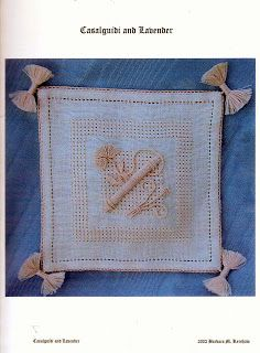 Casalguidi and Lavender ~ embroidery project designed by Barbara M. Kershaw ~ embroidered on Antique White 32ct Belfast Linen by Pierrette's Stitching Gallery