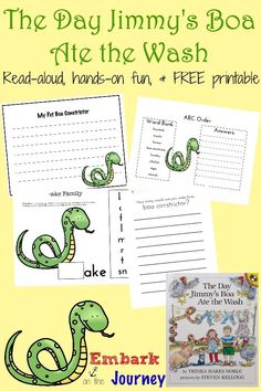 The Day Jimmy's Boa Ate the Wash Read-Aloud Activities and FREE Printable | embarkonthejourney.com