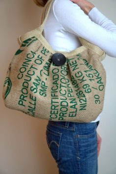 Eco-Friendly Burlap Coffee Sack Bag with Large Button and Hemp Webbing Burlap Coffee Bags, Coffee Bean Bags, Coffee Sacks, Feed Sack Bags, Burlap Sacks, Hessian, Burlap Purse, Hemp Yarn, Jute