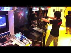 Crazy Dude playing and acting Shooter Arcade