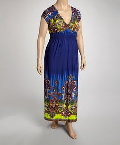 Loving this Navy & Chartreuse Mehndi Cap-Sleeve Dress - Plus on #zulily! #zulilyfinds