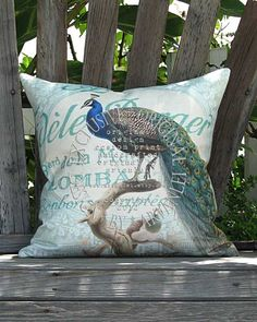 Blue Bird Pillow  Peacock Pillow Cover by artanlei on Etsy, $35.00