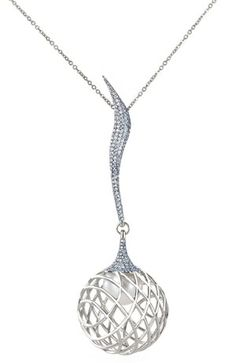 Pendant from Lara Bohinc's Palladium fine jewellery collection - £11,000. The pendant features pave set diamonds that wave down to an orb cage encasing a South Sea Pearl.