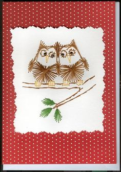 Two Owls Stitched Card