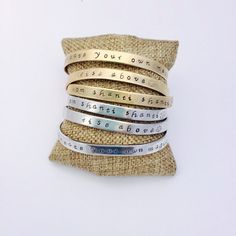 Om Shanti Cuff Bracelet  Hand Stamped  Rise Above Mantra Bracelet - Create your own magic Inspirational jewelry by IndoLove