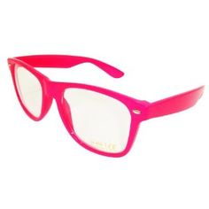 New (Unisex Mens Ladies) Neon Pink Wayfarer Glasses Geek Sunglasses with Clear Lense