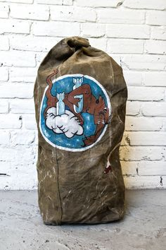 Vintage WWII Hand Painted Military Duffel Bag by asdphilly on Etsy, $100.00