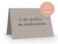 Printable Escort Card Template  Place Card Template  Tent