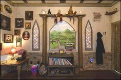 Bedroom decorated to look like its at Hogwarts!