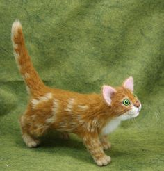 Cat - needle felted kitten (almost life size) - FIBER ARTS