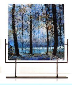 Blue Velvet Morning, Kilnformed Glass by Alice Benvie Gebhart