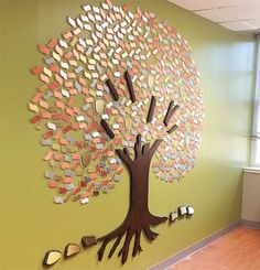 Roots University of Arkansas Arkansas Tree of life with aluminum, brass and copper leaves on individual Plexiglas shapes mounted directly to the wall. Brass acorns on Plexiglas shapes mounted to the wall. Dark Walnut and brass rocks. Eagle Project, Donor Wall, Memory Tree, Hospital Design, University Of Arkansas, Tree Roots, Tree Designs, Tree Wall, Tree Of Life