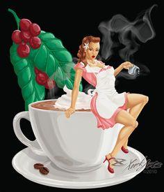 Coffee Pin-up by ~XonkArts on deviantART