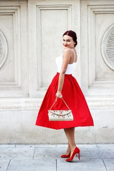 Oh I love this skirt! #red #midi Inverted Triangle Fashion, Strapless Dress Formal, Formal Dresses, Red Skirts, Office Outfits, Beige, Covet Fashion, Fashion Outfits, Womens Fashion