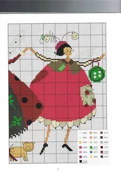 0 point de croix femmes fées avec robes bouffantes - cross stitch 3 fairy ladies in fluffy dresses part2