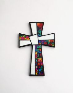 Mosaic Wall Cross, Large, Black with White + Hand Painted Abstract Rainbow Glass, Handmade Stained Glass Mosaic Cross Wall Decor, x Mosaic Crosses, Wall Crosses, Mosaic Crafts, Mosaic Projects, Painted Wooden Crosses, Hand Painted, Mosaic Designs, Mosaic Patterns, Mosaic Company