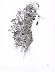 #halffeather #feather #floral #black #cute #feminine #tattoodesign