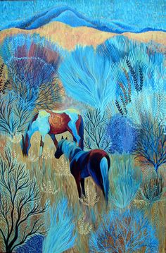 On Blue Mountain by Sally Bartos, New Mexico artist. Her work is available from bartos on Etsy.