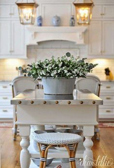 Nice idea to upgrade a farm house tables look. Great island - Kathryn Salyer Designs