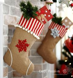 DIY Ideas for Decorating Burlap & Linen Stockings - save on crafts Burlap Christmas Decorations, Burlap Christmas Stockings, Diy Stockings, Christmas Stocking Pattern, Christmas Sewing, Christmas Fun, Crochet Stocking, White Christmas, Christmas Projects