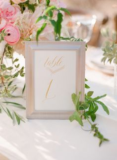Gold Calligraphy Table Number | photography by http://ktmerry.com/