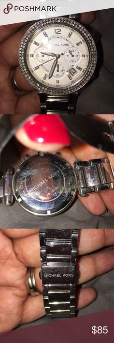 Micheal Kors Diamond Trimmed Woman's Watch 💕❤️️⌚️️Stylish silver Michael Kors watch with a diamond edge and diamond time markers. No stones missing and just has been cleaned. It's been well loved with lots of life still left! It's truly a beautiful piece!!! ⌚️ ❤️💕TRADES POSSIBLE Michael Kors Accessories Watches