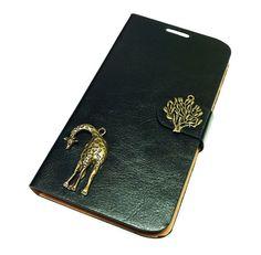 Samsung Galaxy S5 Leather Wallet Case Cover, Giraffe Galaxy S5 wallet case