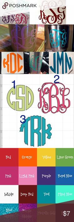 Monogram Stickers / Monogram Decals 🚫DO NOT BUY THIS LISTING🚫 These are monogram stickers that will stick to any smooth surface! Perfect for Yeti Cups, Car windows, etc. Prices depends on size. 3 inches-$7..... 4 inches-$8....... 5 inches-$9. I can also do other sizes but these are the most common. Comment the color, size, style (1,2,3), and INITIALS IN THE ORDER YOU WANT THEM TO APPEAR and I'll make you a SEPARATE listing. You can find these for cheaper in my Etsy shop: haleysmonograms…