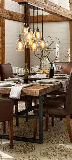 Industrial dining room table legs industrial dining room sets rustic industrial lighting fixture more a dining . Dining Room Design, Dining Room Decor, Rustic House, Rustic Light Fixtures, Rustic Industrial Lighting, Dining Room Industrial, Modern Farmhouse Dining, Farmhouse Dining Rooms Decor, Home Decor