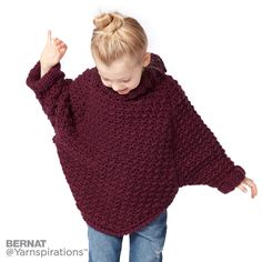 Bernat Kids Curvy Crochet Cowl Pullover, 6 yrs in color Crochet Toddler Sweater, Crochet Jumper Pattern, Toddler Poncho, Kids Poncho, Crochet Cardigan, Crochet For Kids, Knit Crochet, Crochet Patterns, Crochet Ideas