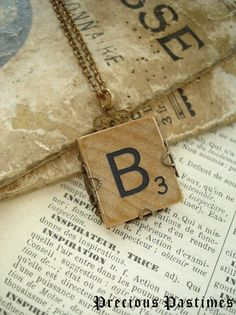 Vintage SCRABBLE Letter B Necklace Lovely Old by PreciousPastimes, $19.50