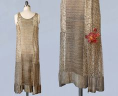 1920s Dress / 20s GOLD LAME Metallic Dress / by GuermantesVintage