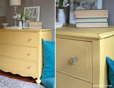 Dresser makeover: Annie Sloan Chalk Paint in a custom mix of Arles and English Yellow  {Lia Griffith}