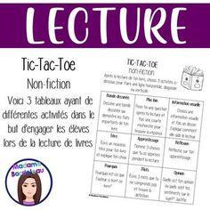 Compréhension en lecture (non-fiction) Tic Tac Toe, Non Fiction, Document, Genre, Afin, Reading, Romans, Images, Words