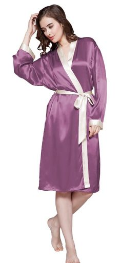 f1def43b36be2 22 Momme Mid-Length Silk Robe for Women Reverse Trim Pure Silk By LilySilk  - M Violet