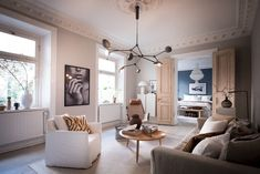 This Swedish Apartment Will Make You Want To Cozy Up Your Home For Fall Living Room Trends, Living Room Designs, Living Room Decor, Living Rooms, Modern Scandinavian Interior, Scandinavian Apartment, Living Style, Simple Living Room, Small Living