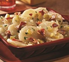 Traditional German potato salad is hearty, delicious and free of mayonnaise and mustard, making it perfect for those who prefer non-dairy potato salad.