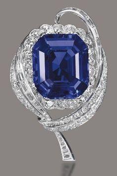 Sapphire Gemstones An octagonal-cut Burmese sapphire brooch of carats, by Mellerio. Centering upon an octagonal-cut sapphire, The Sapphires, Sapphire Jewelry, Sapphire Gemstone, Sapphire Diamond, Blue Sapphire, Ruby Earrings, Diamond Brooch, High Jewelry, Jewelry Stores