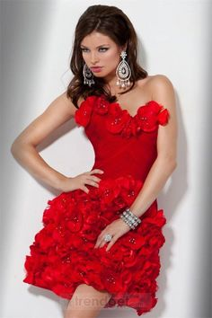 Vintage A-line One Shoulder Short / Mini Taffeta Beading Red Cocktail Dresses - $152.99 - Trendget.com
