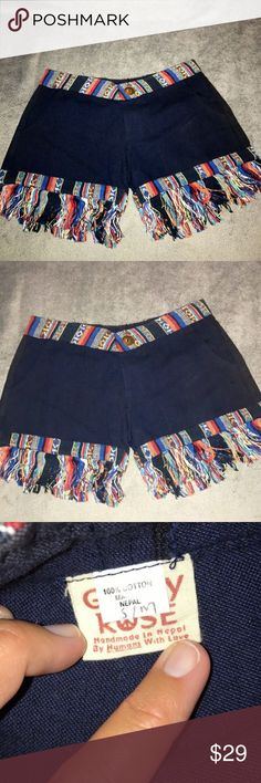 Handmade Hippie Navy Aztec Fringe Shorts Never worn.  I received these as a gift and they were too small for me (sadly).  I wear a size 4-6, but these fit like a 2.  Tag says S/M though. They were purchased at a music festival last summer!  100% cotton, handmade in Nepal, super cute and unique! Gypsy Rose Shorts Jean Shorts