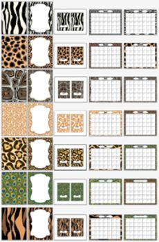 Animal print backgrounds, frames, printable calendars and notecards! So versatile! $