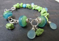 $95 Lime Green Turquoise Nugget Sterling Silver Lampwork Glass Bead Bracelet
