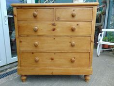 Victorian Pine 2 Over 3 Chest Of Drawers - Antiques Atlas