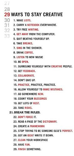 29 way to stay creative