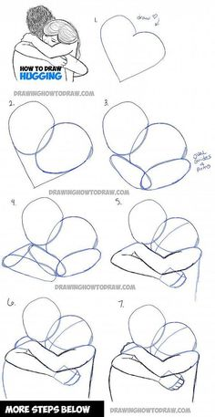 Design to draw - Draw Pattern - drawing a couple hugging - two people hugs in easy steps... Draw Pattern & inspiration Preview – Pattern Description drawing a couple hugging – two people hugs in easy steps – Source –