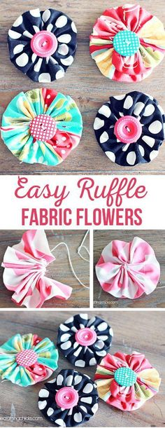 Easy Ruffle Fabric Flowers via The Crafting Chicks fabric crafts Would be cute on headband for little girl. Easy Ruffle Fabric Flowers via An addition to potential sewing class idea's. With my younger girls anything making shapes and for the very youngest Making Fabric Flowers, Cloth Flowers, Flower Making, Diy Flowers, Yellow Flowers, Ribbon Crafts, Flower Crafts, Crafts With Fabric, Diy Fleur