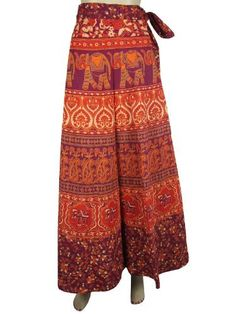 Long Wrap Skirt Purple Orange Elephant Floral Print Gypsy Boho Women Wrap Around Skirts Mogul Interior, http://www.amazon.com/dp/B009SIPYD8/ref=cm_sw_r_pi_dp_21gGqb0Q54VGA